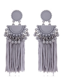 Fashion Gray Tassel Decorated Pure Color Earrings