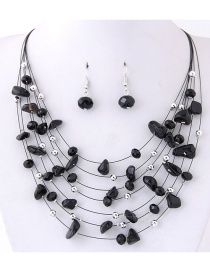 Fashoin Black Bead Decorated Multi-layer Jewelry Set