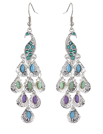 Fashion Silver Color Peacock Shape Decorated Earrings