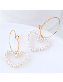 Sweet Gold Color Full Pearls Design Heart Shape Earrings