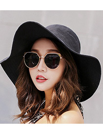 Fashion Black Pure Color Decorated Hats