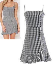 Fashion Black Grid Pattern Decorated Dress