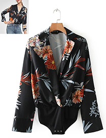 Fashion Black Flower Pattern Decorated Jumpsuit
