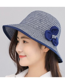 Trendy Navy Flower Decorated Simple Fishman Hat
