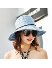 Trendy Blue Pure Color Design Foldable Sunshade Hat