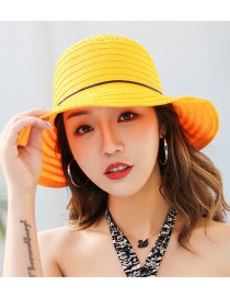 Trendy Yellow Pure Color Design Foldable Sunshade Hat