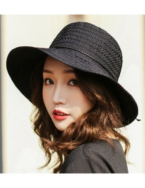 Trendy Black Pure Color Design Foldable Sunshade Hat