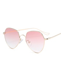 Fashion Pink Pure Color Decorated Sunglasses