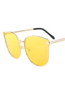 Fashion Yellow Square Shape Decorated Sunglasses