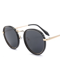 Fashion Gray Round Shape Decorated Sunglasses