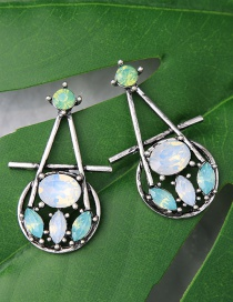 Fashion Green+blue Water Drop Shape Decorated Earrings