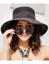 Fashion Black Lines Pattern Decorated Foldable Sun Hat