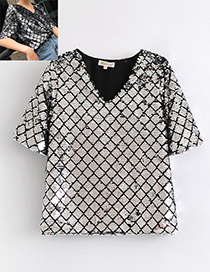 Fashion Silver Color Grid Pattern Decorated V Neckline Blouse