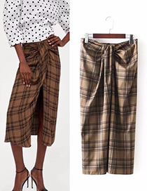 Fashion Brown Grid Pattern Decorated Long Pants