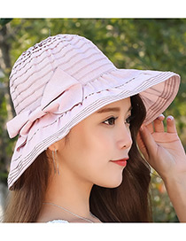 Fashion Pink Bowknot Design Anti-ultraviolet Hat