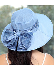 Fashion Blue Bowknot Decorated Foldable Sun Hat