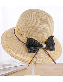 Fashion Beige Bowknot Decorated Beach Sun Hat