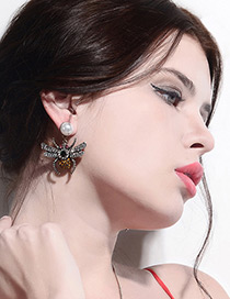Vintage Multi-color Spider Shape Decorated Earrings