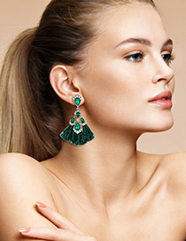 Trendy Green Diamond Decorated Tassel Earrings