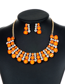 Fashion Orange Diamond Decorated Hollow Out Jewelry Sets