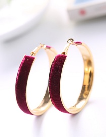 Fashion Plum Red Circular Ring Decorated Earrings