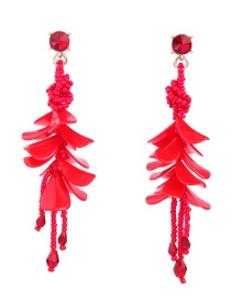 Fashion Red Beads Decorated Pure Color Earrings