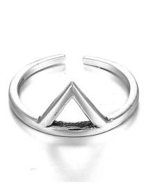 Fashion Silver Color Triangle Shape Design Pure Color Ring