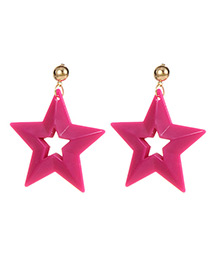 Fashion Plum Red Stars Shape Design Hollow Out Earrings