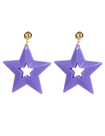 Fashion Purple Stars Shape Design Hollow Out Earrings