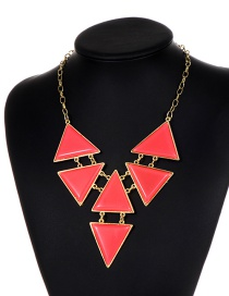 Fashion Pink Triangle Shape Decorated Necklace