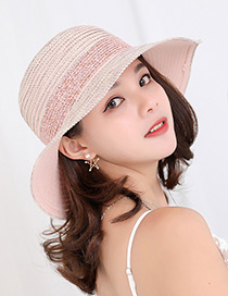 Fashion Pink Strip Shape Decorated Hat