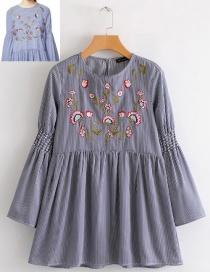 Fashion Blue Stripe Shape Pattern Design Dress