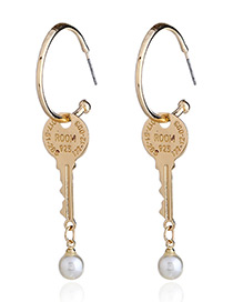 Fashion Gold Color Key Shape Design Earrings
