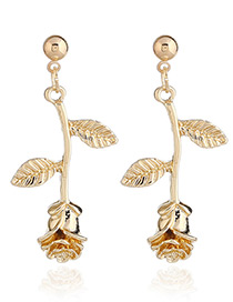 Fashion Gold Color Rose Shape Design Pure Color Earring