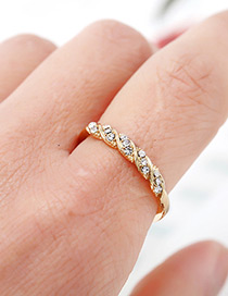Fashion Gold Color Full Diamond Decorated Ring