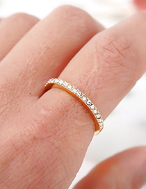 Fashion Gold Color Full Diamond Decorated Simple Ring