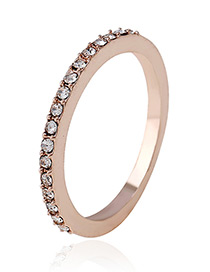 Fashion Rose Gold Full Diamond Decorated Simple Ring