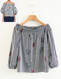 Fashion Gray Butterfly Shape Pattern Decorated Blouse