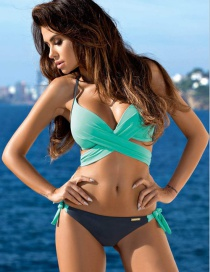 Sexy Blue+gray Color-matching Decorated Swimwear