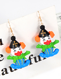 Lovely Green Doll Shape Decorated Earrings