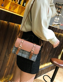 Fashion Brown Grid Shape Decorated Bag