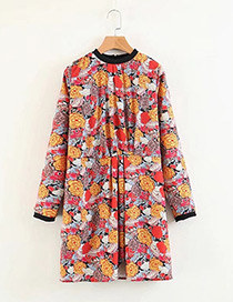 Fashion Red+yellow Flower Pattern Decorated Dress