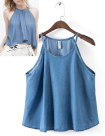 Fashion Blue Pure Color Decorated Vest