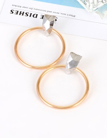 Fashion Gold Color Round Shape Decorated Pure Color Earrings