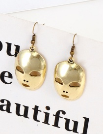 Fashion Gold Color Mask Shape Design Earrings