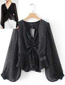 Fashion Black Flower Pattern Decorated Blouse