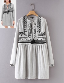Fashion Gray Embroidery Flower Design Long Sleeves Dress