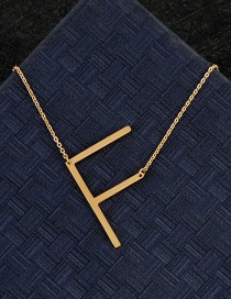 Fashion Gold Color F Letter Shape Decorated Necklace