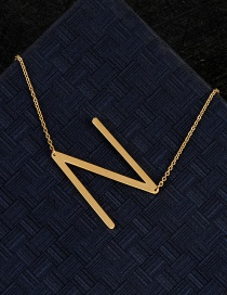 Fashion Gold Color N Letter Shape Decorated Necklace