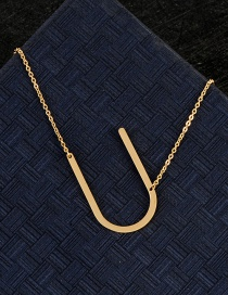 Fashion Gold Color U Letter Shape Decorated Necklace